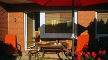 Terrasse des Ferienhauses Vogelsand in Cuxhaven Döse