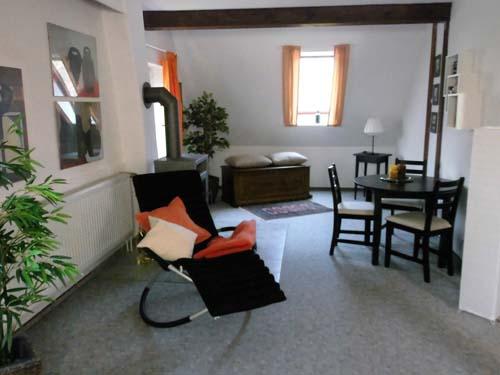 Wohn- und Essbereich mit Kaminofen